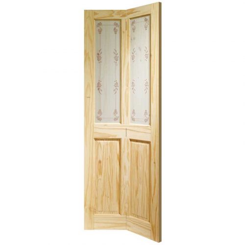 Victorian Bi-Fold Internal Knotty Pine Door with Bluebell Glass