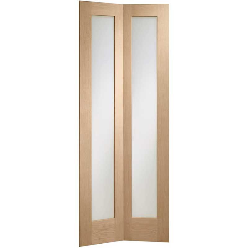 Pattern 10 Bi-Fold Internal Oak Door with Clear Glass
