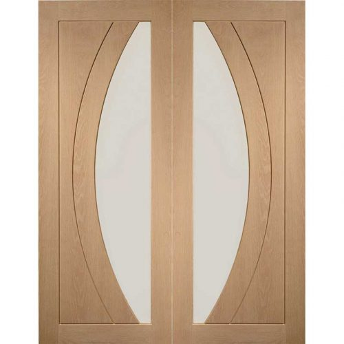 """Internal Oak Salerno Pair with Clear Flat Glass (54"""")"""