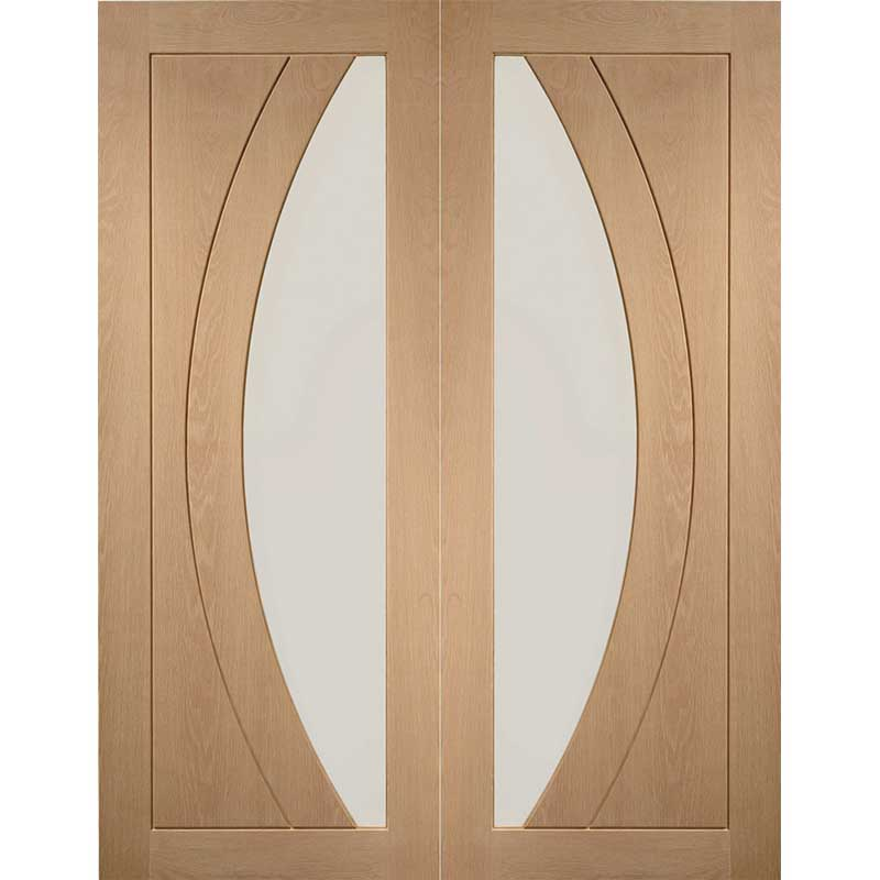 """Internal Oak Salerno Pair with Clear Flat Glass (48"""")"""