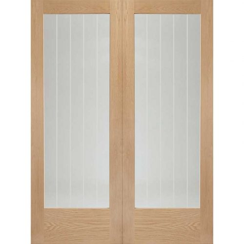 """Internal Oak Suffolk Pair with Clear Etched Glass (42"""")"""