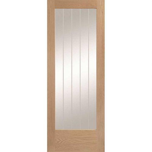 Suffolk Internal 1 Light Oak Door with Clear Etched Glass