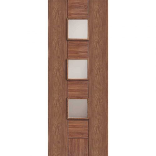 Walnut Pre-Finished Messina Internal Door with Clear Glass