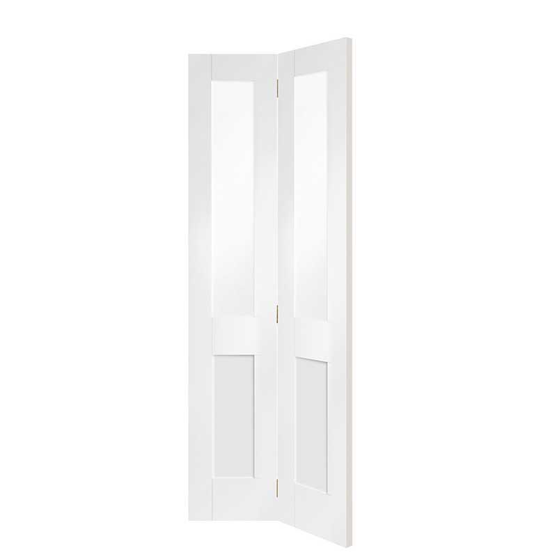 Malton Shaker Internal White Primed Bi-Fold Door with Clear Glass
