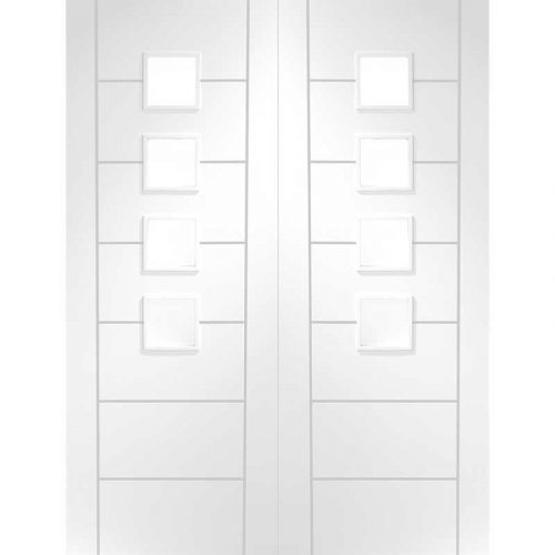 Palermo Internal White Primed Rebated Door Pair with Obscure Glass