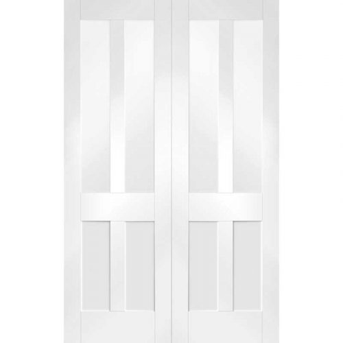 """Internal White Primed Malton Shaker Pair with Clear Glass (46"""")"""
