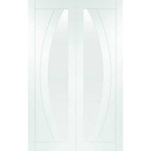 """Internal White Primed Salerno Door Pair with Clear Glass (48"""")"""