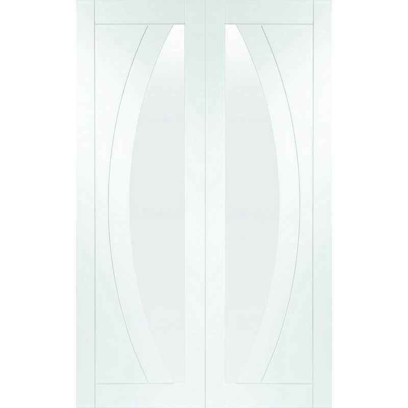 """Internal White Primed Salerno Door Pair with Clear Glass (54"""")"""