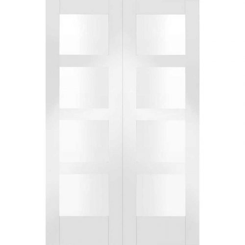 Internal White Primed Shaker Door Pair with Clear Glass
