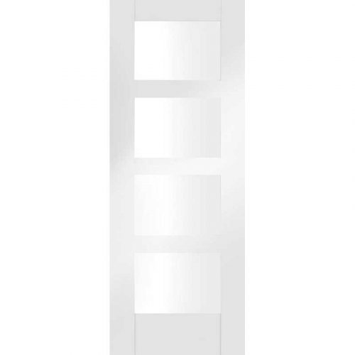 "Internal White Primed Shaker 4 Lite Fire Door - Clear Glass (27"")"