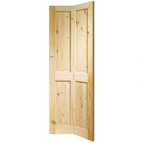 Victorian 4 Panel Bi-Fold Internal Knotty Pine Door