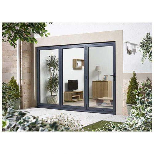 8' Grey Right Folding Doorset Double Glazed Units External Door