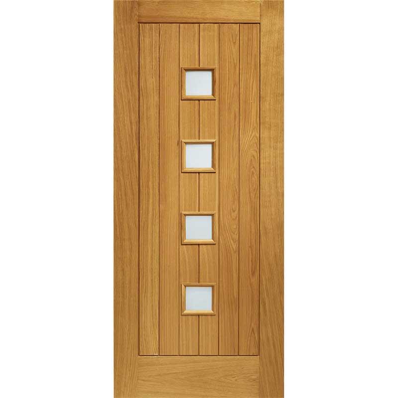 Siena Pre-Finished Double Glazed External Oak Door with Obscure Glass