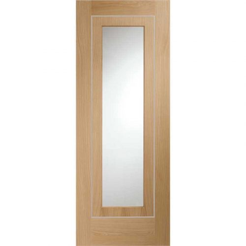 """Internal Oak Pre-Finished Varese (Alum Inlay) Clear Glass (33"""")"""