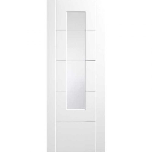 Pre-Finished Internal White Portici (Alum Inlay) Clear Etched Glass