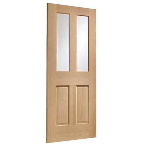 Malton Pre-Finished Internal Oak Door with Clear Bevelled Glass