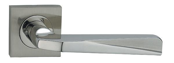 Veer Satin Chrome/Polished Chrome Lever on Square Rose