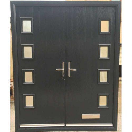 Black Seminole Contemporary Glazed Composite Double Door