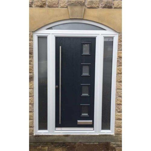 Black Seminole Contemporary Glazed Composite Door with 2 Side Glazed Panels