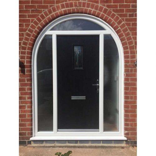 Black Sunningdale Contemporary Glazed Composite Door with Glazed Side Panels