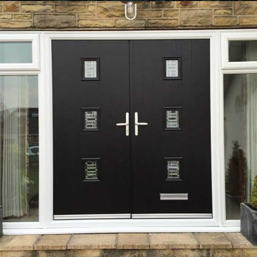 3 Light Black Composite Pair With Glass Sidelights (Top Openers)