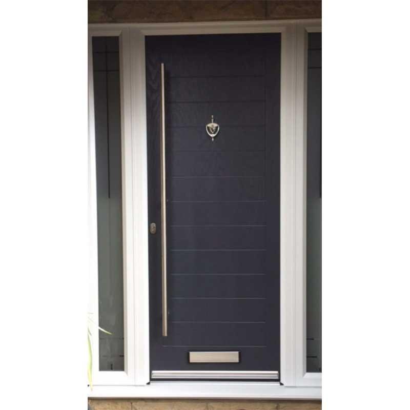 Solid Grooved Black Composite Door With Sandblasted Sidelights