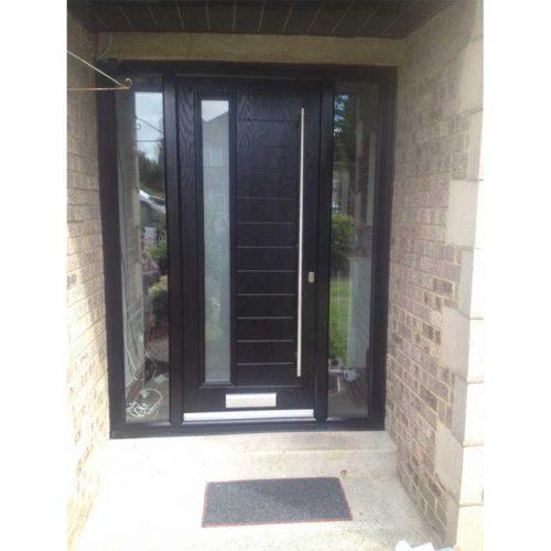 1 Light Black Composite Door With Sandbalst Glass & Clear Sidelights