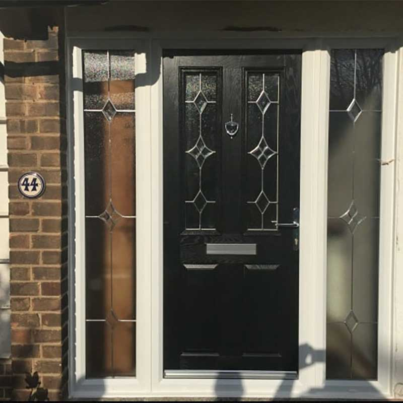 Black Carnoustie Traditional Composite Door with 2 Side L/R Lights