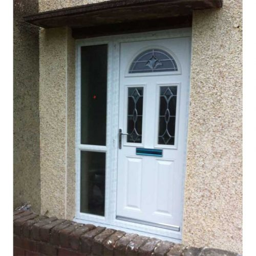 White Riviera Traditional Composite Door with 1 Side Glazed Panel