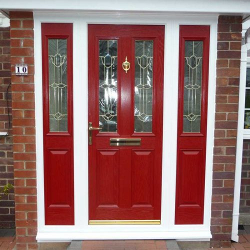 Red Carnoustie Traditional Composite Door with 2 Glazed Composite Side Panels