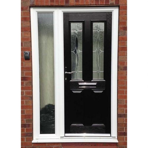 Black Carnoustie Traditional Composite Door with 1 Side Light