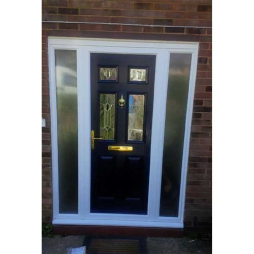 Black Troon Traditional Composite Door with 2 Side Glazed Panels