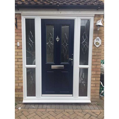 Blue Carnoustie Traditional Composite Door with 4 Glazed Side Panels