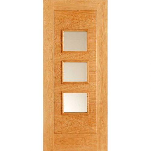 External Door Oak Arta Frosted Double Glazed