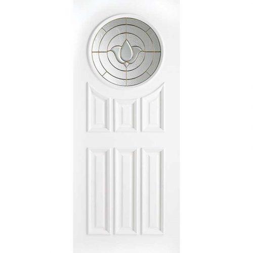 White Sandown Brass Glazed External Door