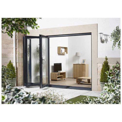 10' Grey Left Folding Doorset Double Glazed Units External Door