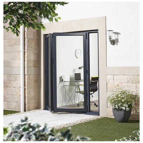 6' Grey Left Folding Doorset Double Glazed Units External Door