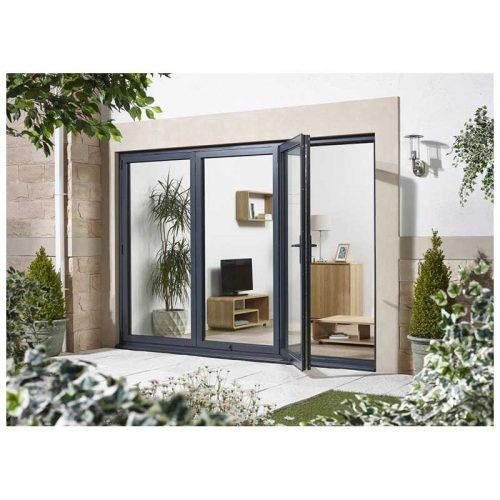 8' Grey Left Folding Doorset Double Glazed Units External Door