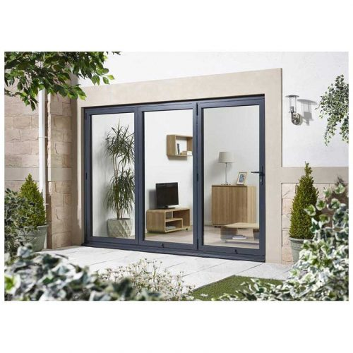 10' Grey Right Folding Doorset Double Glazed Units External Door