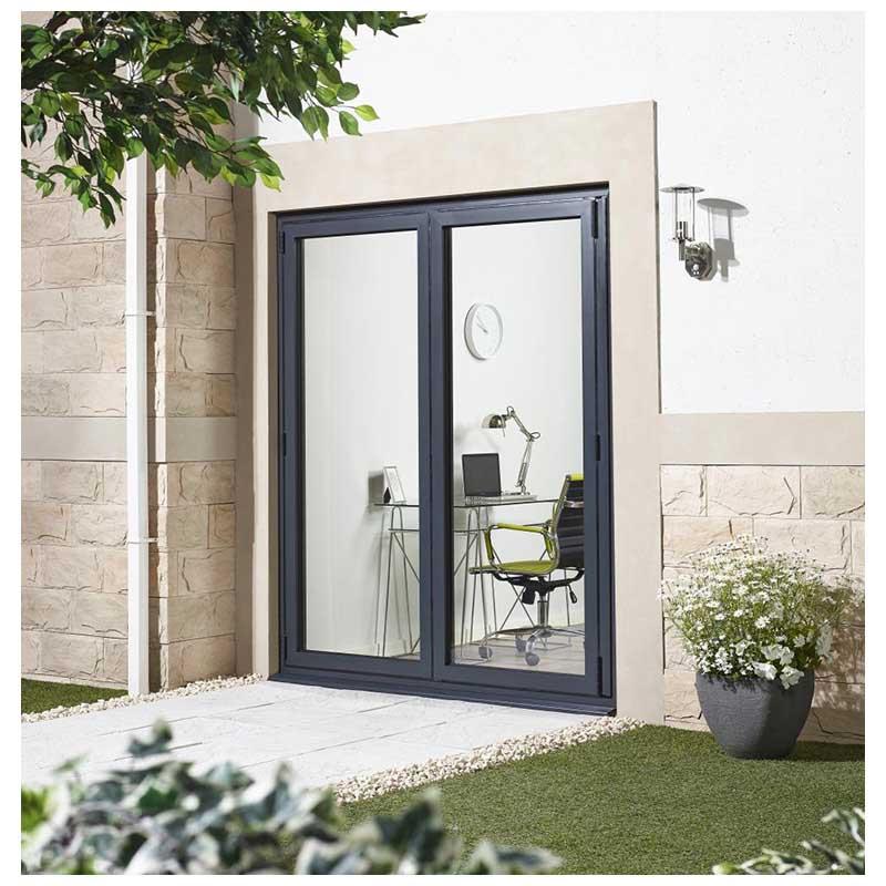 6' Grey Right Folding Doorset Double Glazed Units External Door