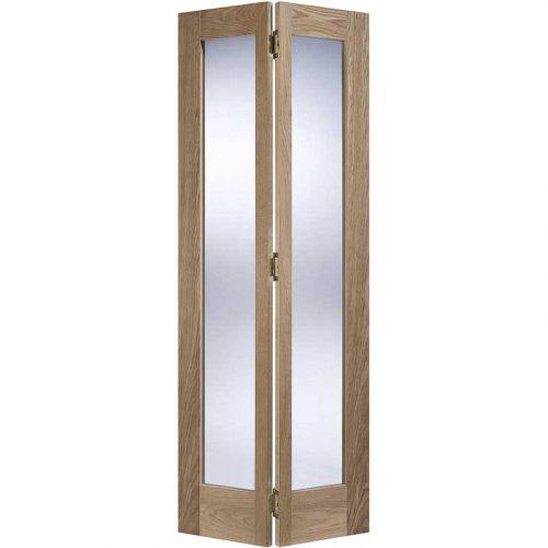 Contemporary Pattern 10 Glazed Bi-Fold Oak Internal Door