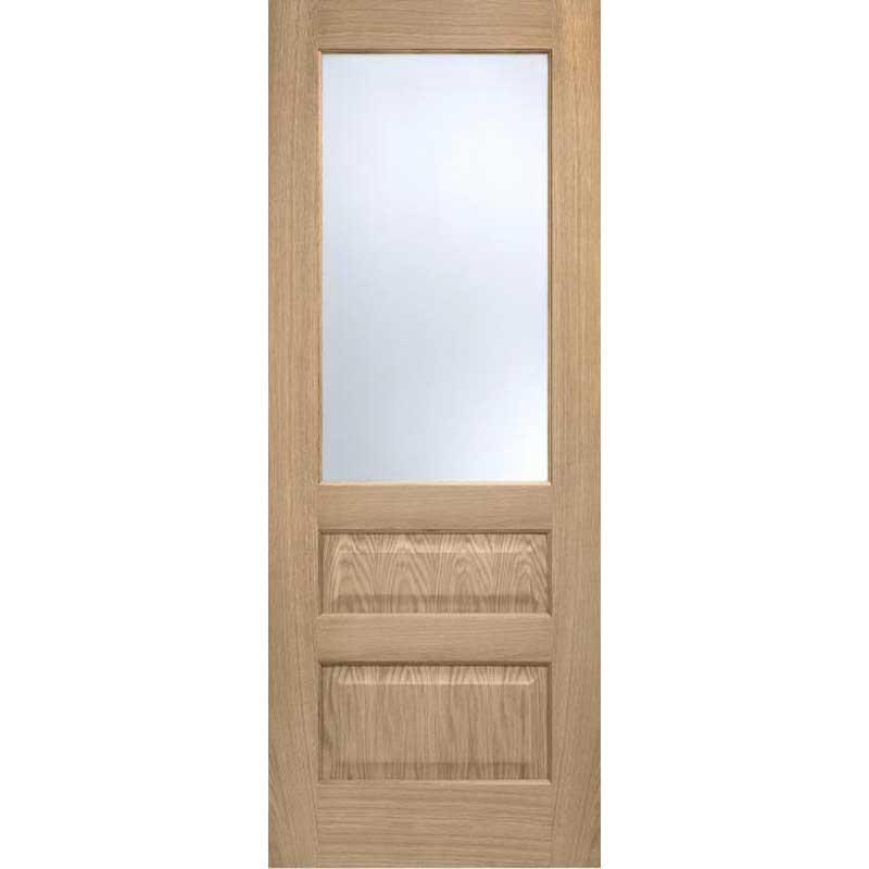 Contemporary 1L/2P Frosted Glazed Oak Internal Door