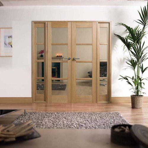 6' Oslo Glazed 4 Light Oak Room Divider