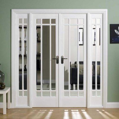 6' White Manhattan Glazed Room Divider Set