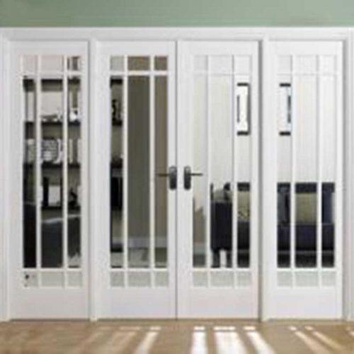8' White Manhattan Glazed Room Divider Set