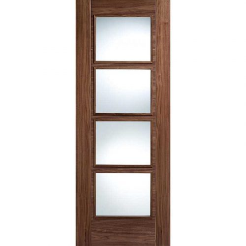 Vancouver 4 Light Clear Glazed Walnut Internal Door