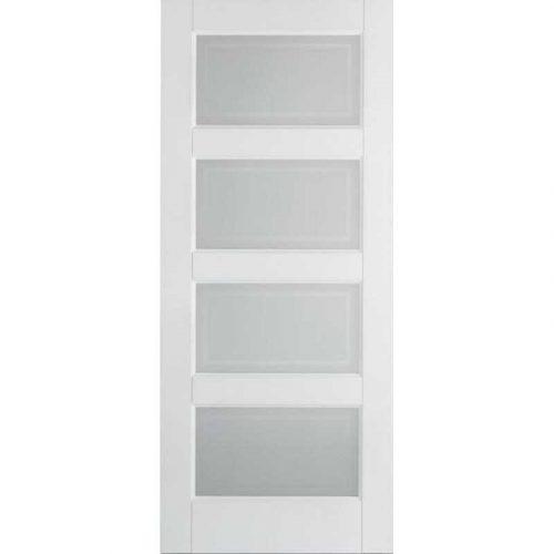 White Contemporary 3 Glazed / 1 Solid Panel Internal Door