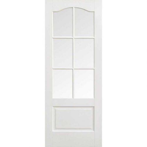 Kent 6 Light Clear Bevelled Glass White Internal Door