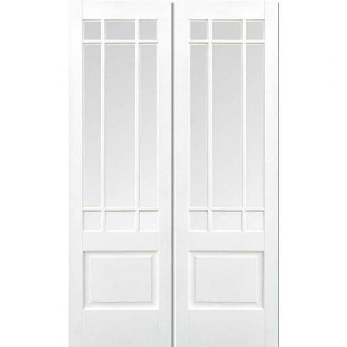 White Downham Pair with Clear Bevelled Glass Prime Plus Internal Door