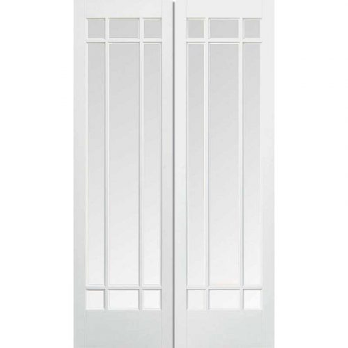 White Manhattan Pair with Clear Bevelled Glass Prime Plus Internal Door